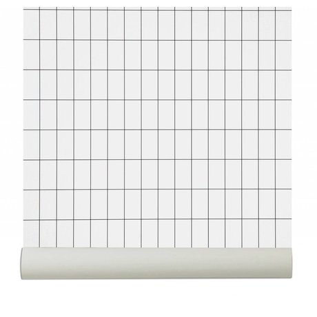Ferm Living Wallpaper `Grid`, black / white, 10.05mx0.53m