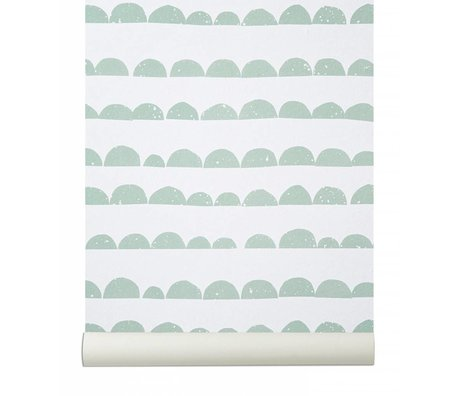 Ferm Living Wallpaper `Half Moon`, mint green / white, 10.05mtrx53cm