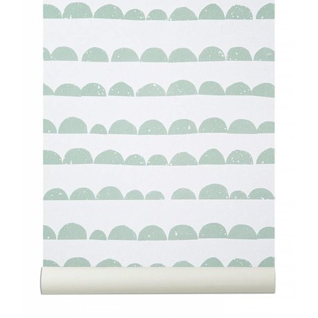 Ferm Living Wallpaper `Mezza Moon`, verde menta / bianco, 10.05mtrx53cm