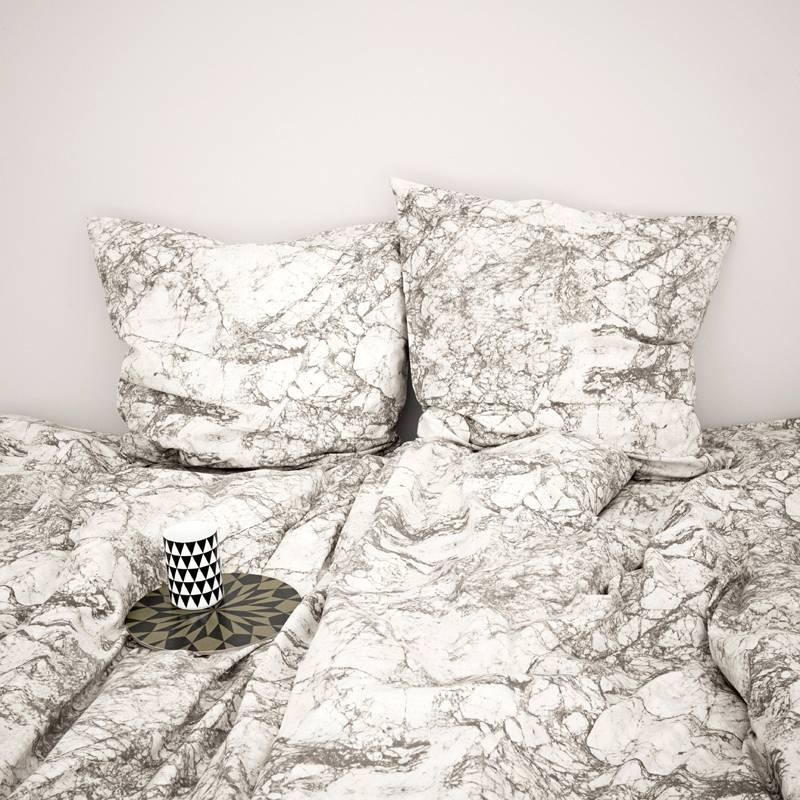 Ferm Living Bettwäsche Marble Aus Baumwolle Grauweiß 140x200 Cm