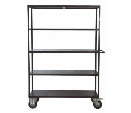 Housedoctor Deposito mobili su ruote in metallo / legno, nero, 130x40x175 cm