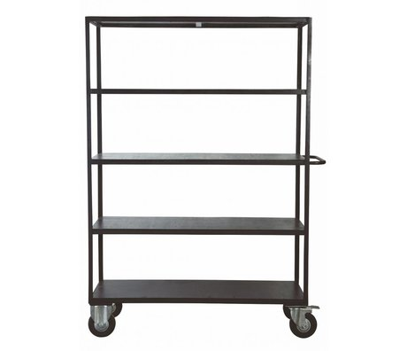 Housedoctor Storage furniture on wheels made of metal / wood, black, 130x40x175 cm