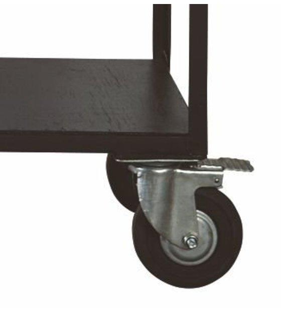 Ruote In Metallo.Housedoctor Deposito Mobili Su Ruote In Metallo Legno Nero 130x40x175 Cm