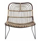 Housedoctor Metallo / rattan Chaise longue 'Kawa', nero / marrone, 73x62x65 cm