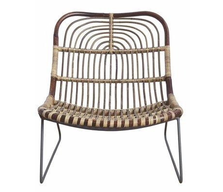 "Housedoctor Chaise longue ""Kawa"" métal / rotin, noir / marron, 73x62x65 cm"