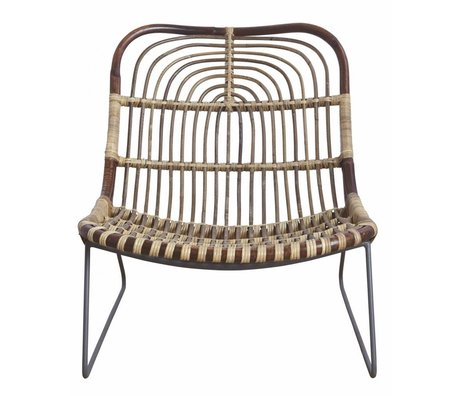 Housedoctor Metallo / rattan Chaise longue 'Kawa', nero / marrone, 73x62x65 cm