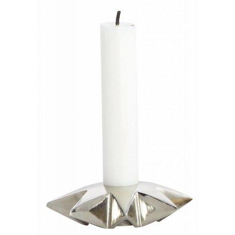 Housedoctor Lysestager 'Star' af aluminium, sølv, Ø9.5xh2.5 cm
