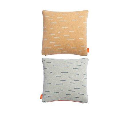 OYOY Almohada Smilla naranja claro gris de algodón 40x40cm