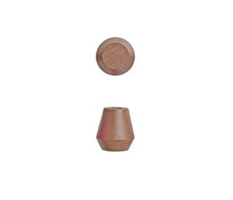 OYOY Runde Klammern Saki Set bestehend aus zwei karamellbraune Holz Ø2,3x2,5cm