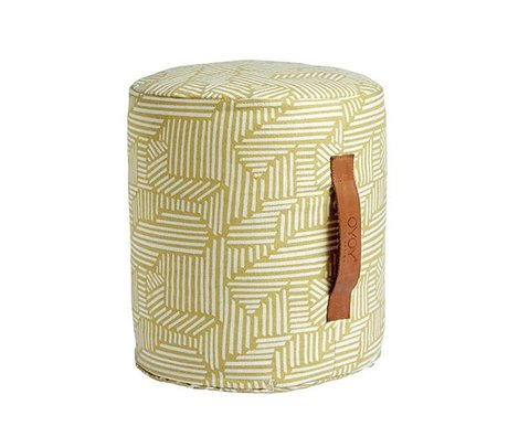 OYOY Pouf Paddy mini-jaune et blanc coton Ø30x35cm