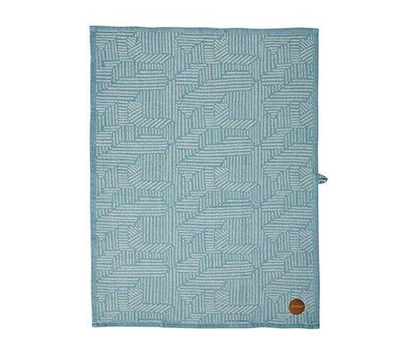 OYOY Paddy Geschirrtuch blau karamellbraune Baumwolle 50x70cm