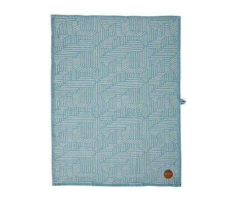 OYOY Paddy Torchon bleu caramel coton 50x70cm brun