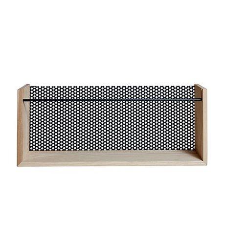 OYOY Magazin Moku natürlichen braunen Holz schwarz Metall 13x20x50cm