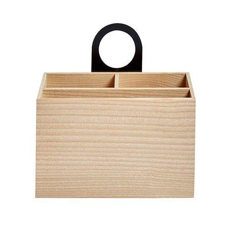 OYOY Lagertablett Miu natürliche braun schwarz Holz 8,5x18,9x20cm