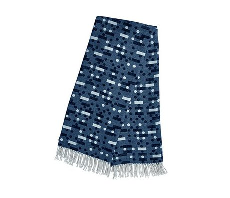 OYOY Domino noir plaid bleu coton 127x170cm