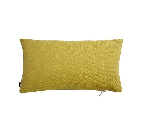 OYOY Kissen mit Fischgrätmuster Fluffy gelbe Baumwolle 40x70cm