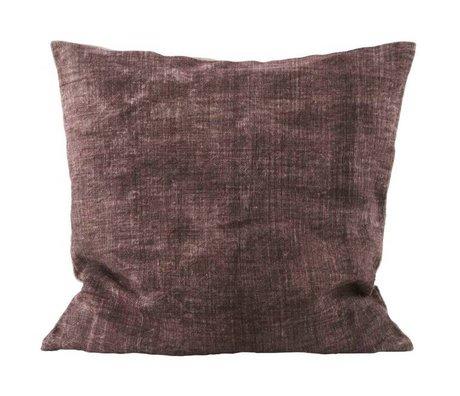 Housedoctor Funda de almohada burdeos Lino lavado crema 50x50cm