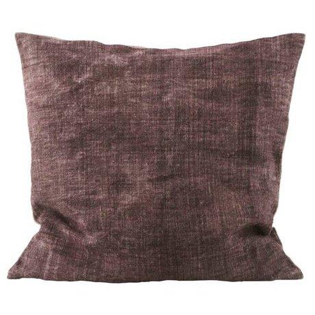 Housedoctor Kissenbezug Washed burgundy Creme Leinen 50x50cm