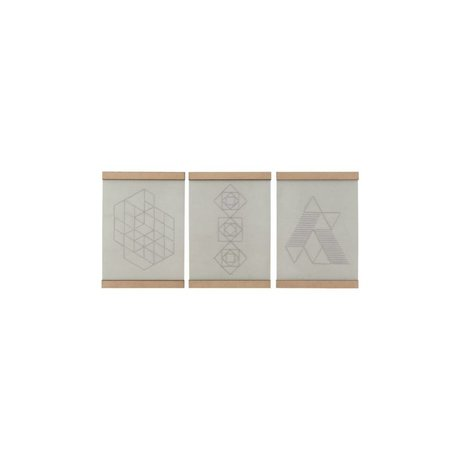 Housedoctor Schule Stickerei Platte Satz von drei weißen natürlicher Baumwolle Holz 21x30cm