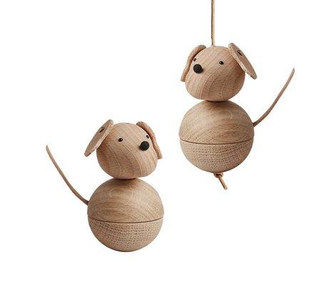 OYOY Dekoration hund Leika naturlig brun træ Ø5,5x9cm
