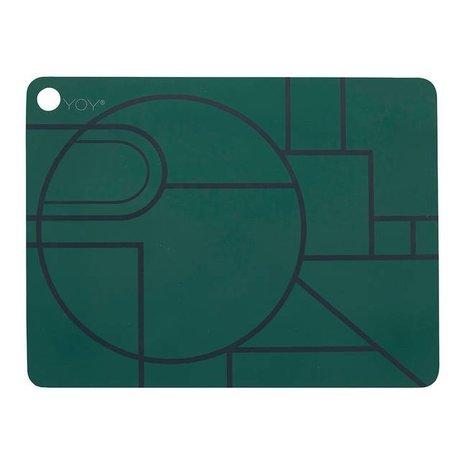 OYOY Ponyo placemat set of two dark green black silicone 45x34x0,15cm