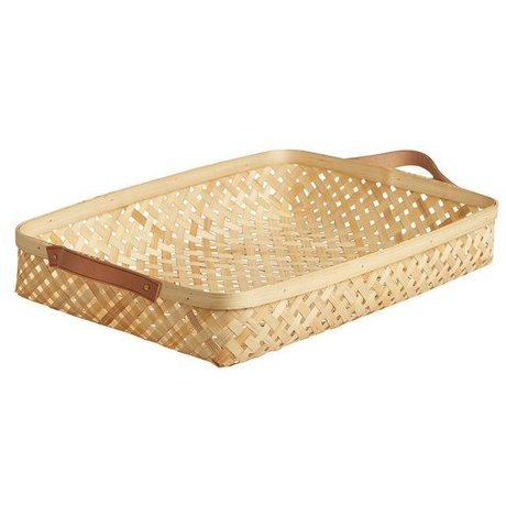 OYOY Basket Sporta large natural brown bamboo 28x42x6cm