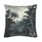 HK-living Cushion jungle green white, cotton, 45 x 45 cm