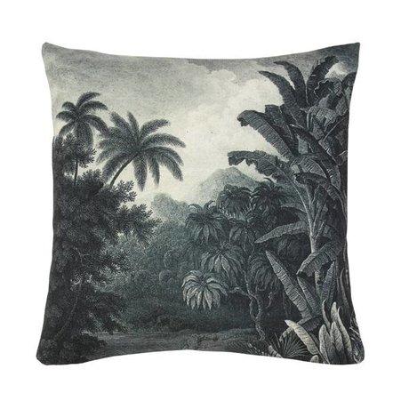 HK-living Pude jungle grøn hvid, bomuld, 45 x 45 cm