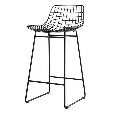 HK-living Barstool acier noir fil 42x47x89cm