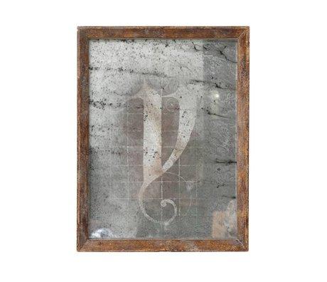 HK-living Mirror brown wood 25x32,5x3,5cm