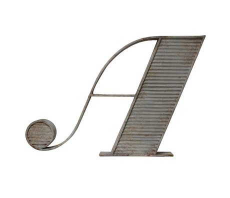 HK-living A letter with antique look gray metal 102x70x9cm