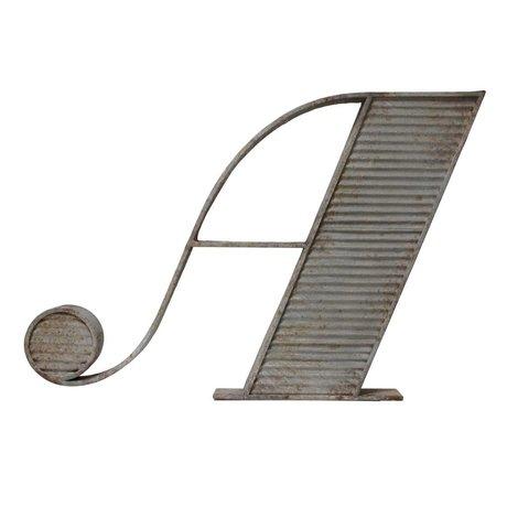 HK-living Buchstabe A im Antik-Look, grau, Metall, 102 x 70 x 9 cm