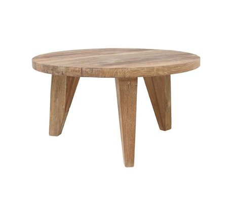 HK-living Coffee table round brown teak wood 65x65x35,5cm