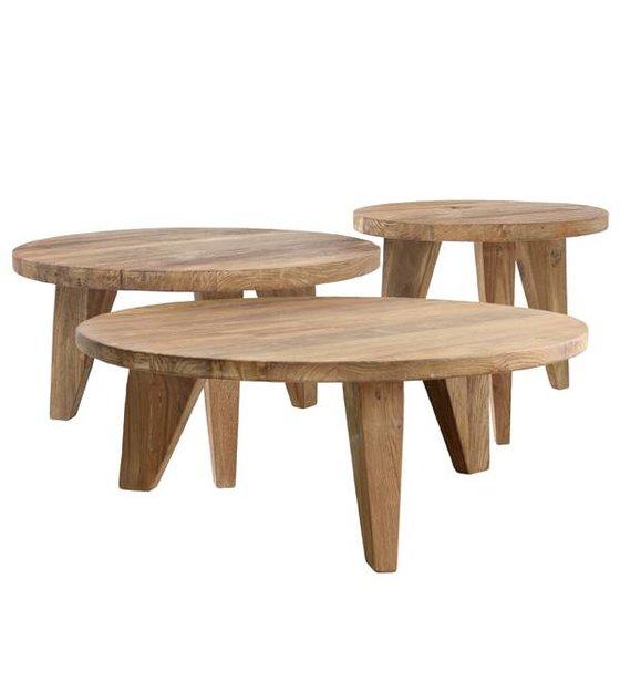 hk living coffee table round brown teak wood 65x65x35 5cm