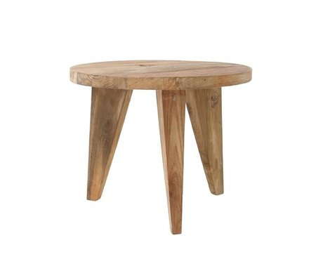 HK-living Coffee table round brown teak wood 50x50x41cm