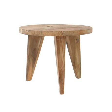 HK-living Table basse ronde en teck bois brun 50x50x41cm