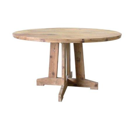 HK-living Table ronde à manger en teck bois brun 140x140x75cm