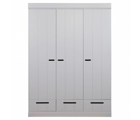 LEF collections Wardrobe 3 doors connecting strip door with drawers concrete gray pine 195X140X53cm