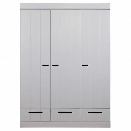 LEF collections Armadio 3 porte comunicanti porta strip con cassetti cemento grigio pino 195X140X53cm