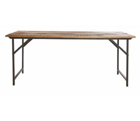 Housedoctor Esstisch 'Party' aus Metall/Holz, grau/braun, 180x80x74 cm