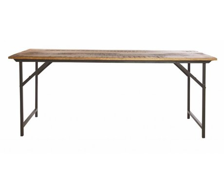 Housedoctor Table à manger 'party' de métal / bois, gris / brun, 180x80x74 cm