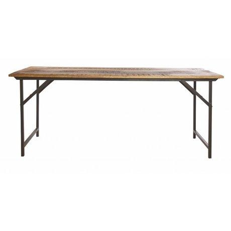 Housedoctor Tavolo da pranzo 'partito' di metallo / legno, grigio / marrone, 180x80x74 cm