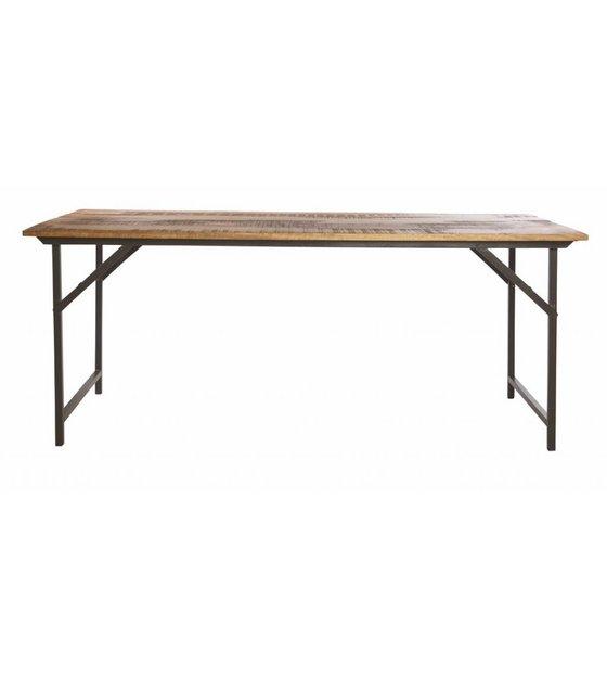 Housedoctor Table à manger \'party\' de métal / bois, gris / brun, 180x80x74  cm