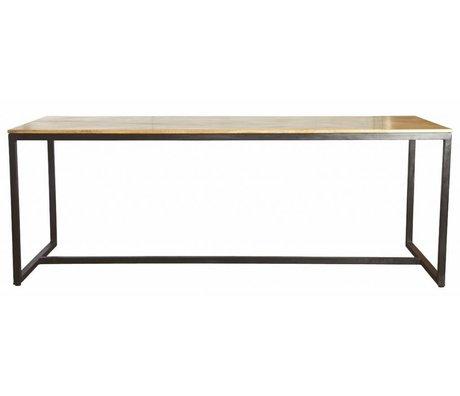 Housedoctor Esstisch 'Form' aus Eisen/Holz, schwarz/braun, 200x80x74cm