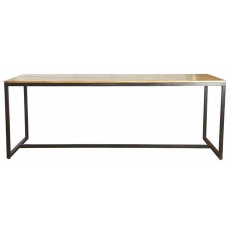 Housedoctor Tavolo da pranzo 'forma' di ferro / legno, nero / marrone, 200x80x74cm
