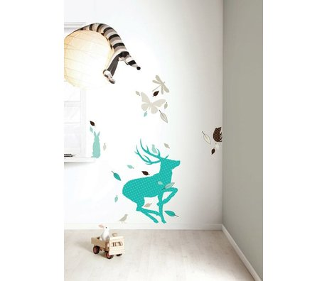 Kek Amsterdam Vinile Wall Sticker Set 'Deer XL RAGAZZI', blu / marrone