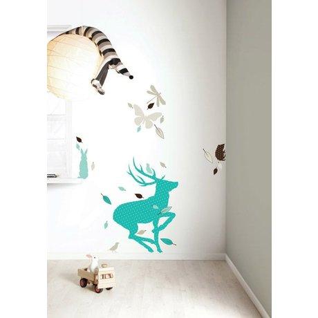 Kek Amsterdam De vinilo etiqueta de la pared Set 'Ciervo XL muchachos, azul / marrón