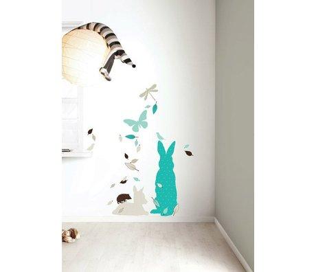 Kek Amsterdam Etiqueta de la pared Set 'Conejo' XL CHICOS vinilo, azul / marrón