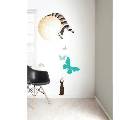 Kek Amsterdam Vinyle autocollant mur Set 'papillon garçons, bleu / marron
