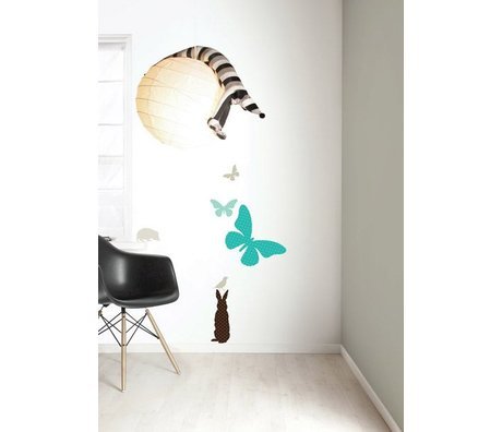 Kek Amsterdam Wall Sticker Set 'Butterfly BOYS' vinyl, blue / brown